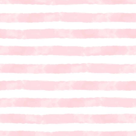 Vector watercolor stripes pink and white seamless. Repeating hand drawn background.
