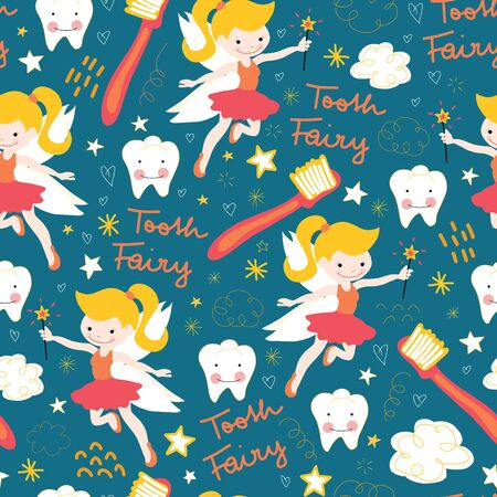 Seamless vector pattern Tooth fairy. Cute fairies with wand on blue background with teeth, toothbrush, stars and clouds. Repeating backdrop for kids dentistry, dental clinic, children fabric, decor