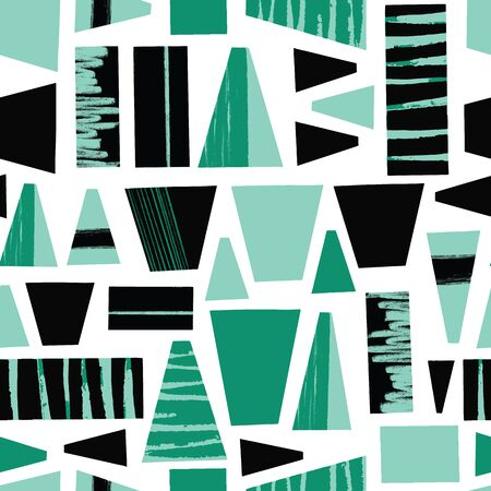 Seamless vector background abstract black teal green shapes. Geometric tribal style repeating pattern with trapezoids and blocks. Modern art grunge shapes pattern.
