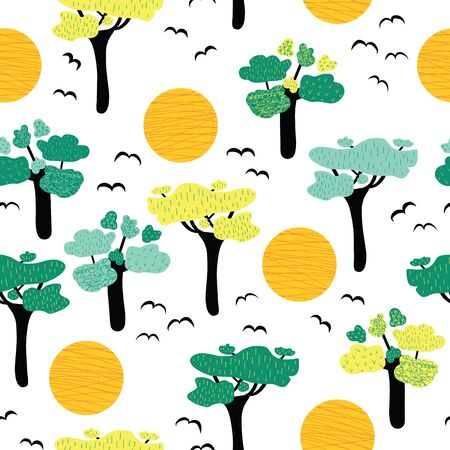 African savannah trees seamless vector pattern. Repeating nature landscape background trees, sunset, wild birds on white backdrop. Wild African nature pattern. Use for fabric, wallpaper, wrapping  イラスト・ベクター素材