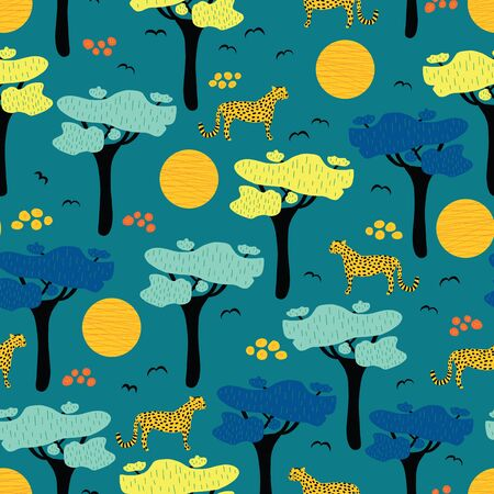 Leopards, jaguar and cheetah between African savannah trees seamless vector background. African wildlife landscape repeating pattern. Wild cat animals on a blue background. African safari sunset.  イラスト・ベクター素材
