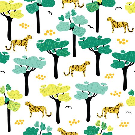 African savannah seamless vector pattern. Leopards, jaguar and cheetah between African trees repeating background. Wild cat animals and birds. African wildlife safari. Use for fabric, wallpaper, wrap  イラスト・ベクター素材