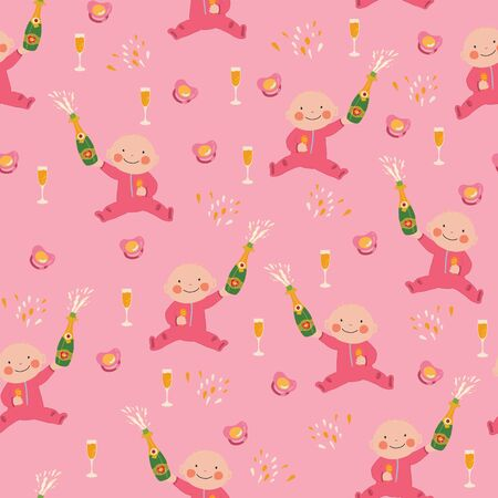 Baby shower girl seamless vector pattern. Baby girl holding a bottle of champagne, Wine flutes and pacifiers repeating pink background.
