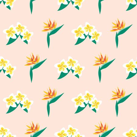 Plumeria and Bird of Paradise flowers seamless vector pattern. Repeating exotic tropical florals on a pink background. Summer design for fabric, wallpaper, wrapping