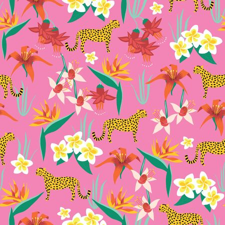 Seamless summer pattern with exotic flowers and cheetahs on a pink background. Vector illustration of tropical Bird of paradise, Frangipani, Plumeria, Lily, Fuchsia, and African wildcat. Safari design