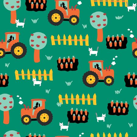 Cute farm pattern with tractors, carrots, fence, apple trees and cats. Repeating seamless vector background for kids. Farming pattern for wrapping paper, fabric, kids decor, childrens apparel Vectores