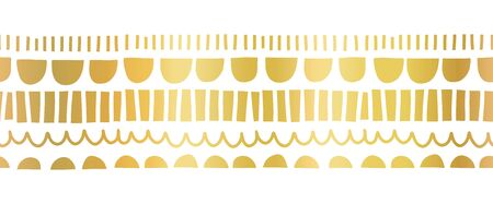 Faux metallic gold foil seamless horizontal vector border. Gilded abstract doodle shapes. Repeating pattern with wonky arcs and stripes. Abstract border for card decor, birthday invite, elegant decor