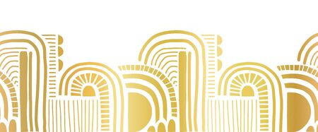 Gold foil border seamless abstract doodle shapes. Cute geometric collage shapes and doodles repeating vector pattern metallic golden on white. Modern elegant line art for footer, letter, cards, invite