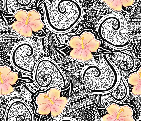 Hibiscus flower and tattoo tribal seamless repeating pattern. Polynesian hawaiian style tribal tattoo and yellow hibiscus florals background. Use for fabric, wallpaper, Hawaiian decor