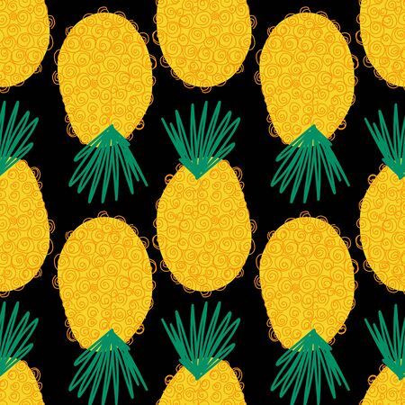 Pineapple seamless abstract pattern. Contemporary vector summer background. Repeating tropical pineapples on black. Hand drawn exotic fruit isolated in cartoon doodle style. For fabric, summer decor