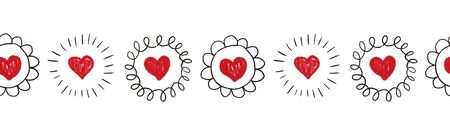 Seamless Hearts border. Repeating doodle heart shapes pattern. Black doodle circles on white background. Repeating Valentines design. Sketch scribble hearts. Use for banner, trim, ribbon