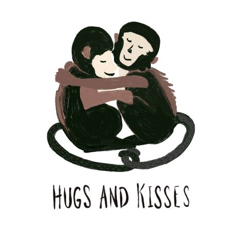 Monkeys hugging each other. Love animal pattern. Capuchin monkey. Hugs and kisses quote. Hand drawn monkey illustration for Valentine, T-Shirts, greeting cards Foto de archivo