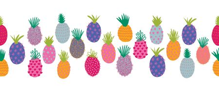 Pineapples seamless summer vector border. Repeating horizontal colorful pattern border. Hand drawn abstract exotic fruit isolated in cartoon doodle style. For fabric trim, summer decoration, footer