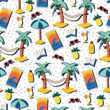 Relaxing beach day seamless vector pattern. Summer beach repeating background with palm trees, hammocks, sunglasses, cocktail, books, sun umbrella, beach towel. For fabric, surface pattern design Ilustração