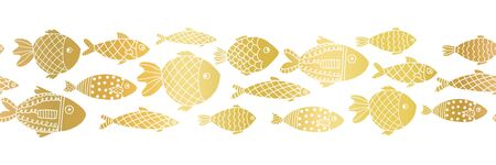 Metallic gold foil fishes seamless vector border. Golden ocean animal repeating pattern. School of tropical fish. Marine summer pattern for banners, ribbons, footer, card decor 免版税图像 - 149882904