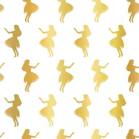 Hula dancers gold foil seamless vector pattern. Faux metallic golden background with silhouettes of Hawaiian women dancing traditional Hula. Elegant Hawaii pattern for exclusive decor, party invites