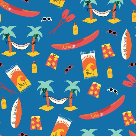 Seamless vector pattern with Palm tree hammock, surfboard, canoe, boardshorts, beach towels, sunglasses, suntan lotion. Repeating beach day background. Hawaiian beach day design. Ilustração