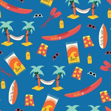Seamless vector pattern with Palm tree hammock, surfboard, canoe, boardshorts, beach towels, sunglasses, suntan lotion. Repeating beach day background. Hawaiian beach day design. 矢量图像