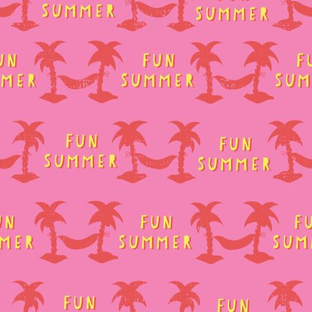 Seamless vector pattern with Fun Summer lettering text and Hammocks between palm trees red, yellow, and pink. Silhouettes of textured coconut palm trees. Retro grunge style. Summer background.