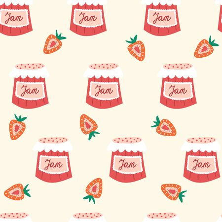 Strawberry jam seamless vector pattern. Repeating pattern with strawberry preserve jars. Use for fabric, gift wrap, packaging