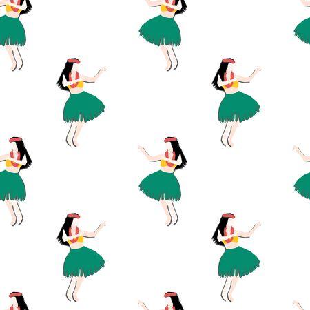 Hula girls seamless vector background. Modern abstract Hawaiian background. Papercut collage illustration of woman dancing traditional Hula dance. Ilustracja