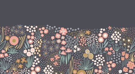 Flower meadow seamless vector border. A lot of florals in pink, gold, white, teal on dark background repeating horizontal pattern. Doodle line art for fabric trim, footer, header, fall autumn decor Vectores