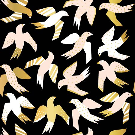 Flying birds with faux gold foil elements abstract papercut style seamless vector pattern. Repeating background with Scandinavian birds pink, white, and gold on a black background.
