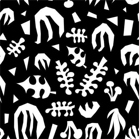 Abstract plants monochrome collage seamless vector pattern. White and black contemporary minimalistic leave shapes background. Illusztráció