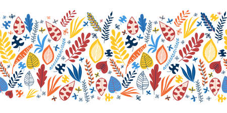 Seamless vector border abstract autumn leaves blue red yellow orange. Repeating pattern. Hand drawn leaf nature border. Repeating horizontal illustration. Use for fabric trim, ribbons, Thanksgiving