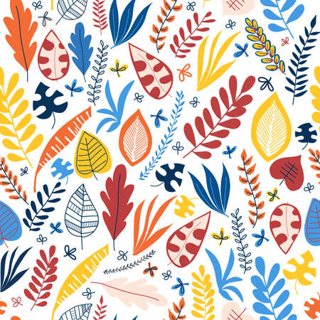 Seamless vector pattern abstract autumn leaves blue red yellow orange. Repeating background. Hand drawn leaf nature pattern. Repeating foliage backdrop. Use for fabric, wallpaper, wrapping, home decor Stockfoto - 151126683