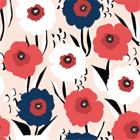 Seamless vector background large red white and blue florals. Repeating poppy flower background Scandinavian style. Use for fabric, wallpaper, 4th of July decor