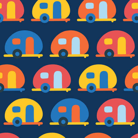 Camping caravans seamless vector pattern. Retro Camper van red, blue, yellow, orange seamless vector background. Scandinavian flat style.
