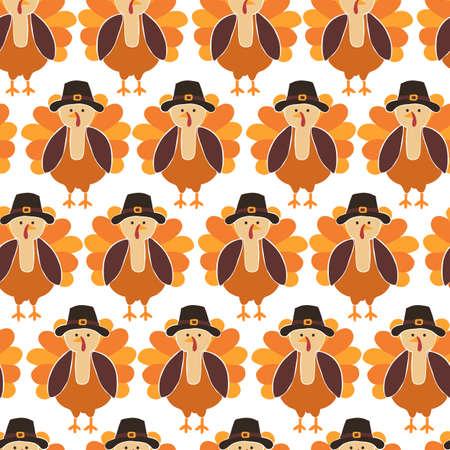 Turkey seamless vector pattern. Cute Thanksgiving background.