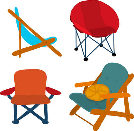 Camping Picnic Patio Chairs vector icon set