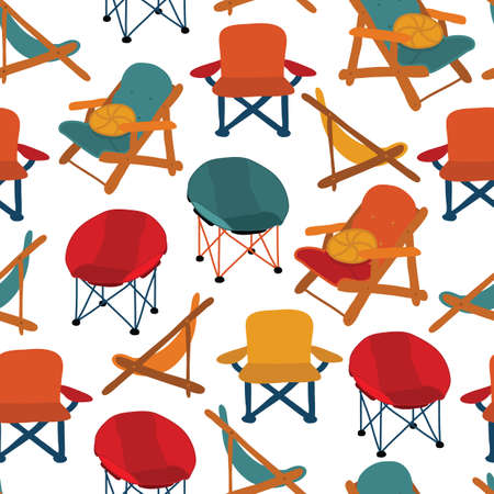 Chairs seamless vector pattern. Repeating background Camping Picnic Patio Chairs. Different types of chairs Vectores