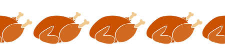 Thanksgiving Roasted turkey seamless horizontal vector border. Thanksgiving Food border repeating. For greeting cards, footer, header, invite, ribbon, fabric trim, Christmas
