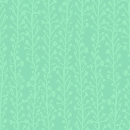 Subtle nature background. Seamless vector pattern of abstract plants in green hues. Branches and leaves growing in vertical direction. Simple foliage texture for fabric, page fill, banner, decoration Hình minh hoạ