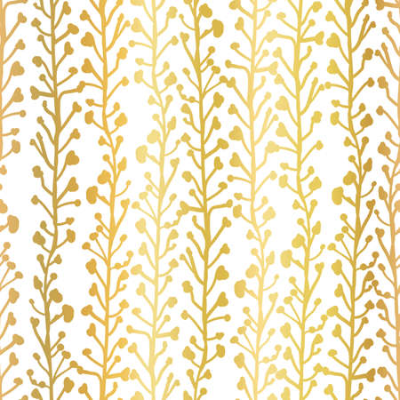 Gold foil nature background. Seamless vector pattern of abstract plants in metallic gold. Branches and leaves growing in vertical direction. Elegant contemporary foliage texture for web banner, invite Ilustração