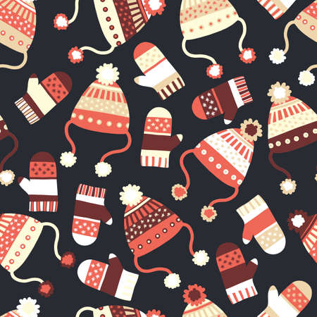 Seamless vector background with hats and mittens. Contemporary seasonal winter pattern tile with knitted winter clothes in red black beige. Cozy handmade knit Winter wear design, Scandinavian style. Ilustracja
