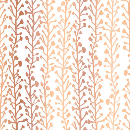 Rose Gold foil nature background. Seamless vector pattern of abstract plants in metallic copper. Branches and leaves growing in vertical direction. Elegant foliage texture for web banner, invite Ilustração