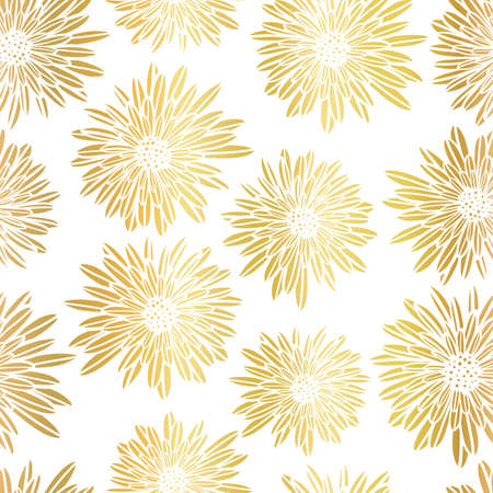 Gold foil Aster Dahlia Flowers elegant seamless vector pattern. Metallic golden shiny floral background. Hand drawn feminine art for summer, spring, banner, cards, wedding celebration, party invite