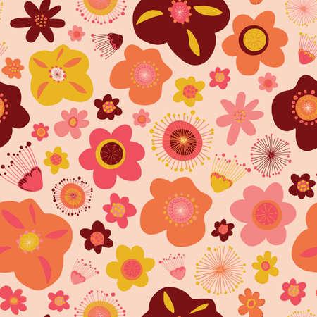 Doodle flowers seamless vector pattern background modern Ilustração