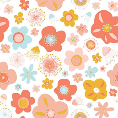 Scandinavian flowers seamless vector pattern background. Floral seamless surface pattern design