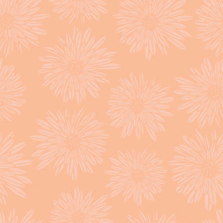 Subtle floral background. Coral pink Aster Dahlia Flowers seamless vector pattern. Hand drawn contemporary feminine art for summer, spring, fabric, paper, home decor, web banner, cards, page fill Ilustração