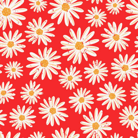 Daisy flowers seamless vector background. Distressed white vintage Chamomile flowers on red pattern. Contemporary seasonal ditsy floral repeat tile. Hand drawn retro design for fabric, decor, paper 矢量图像