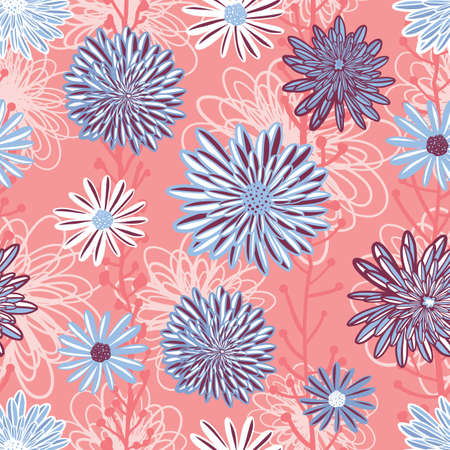 Flower pattern seamless background vector. Floral arrangement with layered Aster, Daisy, Chamomile flowers in coral pink blue white purple. Hand drawn feminine art for summer, spring, fabric, paper