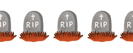 RIP gravestone seamless border. Hand drawn Halloween art Rest in peace illustration pattern. Spooky horizontal repeating border Archivio Fotografico