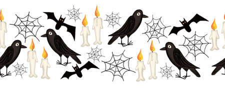 Halloween seamless border. Raven Crow seamless spider web candles, bat repeating border. Hand drawn Halloween art illustration pattern. Spooky horizontal repeating border. Archivio Fotografico