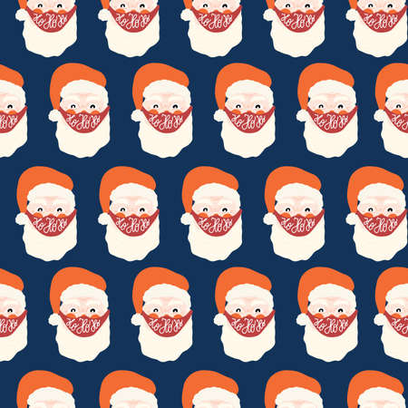 Santa Claus wearing face mask against coronavirus seamless vector pattern. Repeating Christmas 2020 background. Christmas during pandemic hand drawn illustration. Holiday design Ho ho ho lettering.