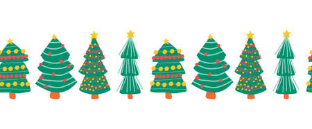 Christmas trees seamless horizontal repeating vector border. Hand drawn decorative Winter holiday design for decoration, banners, ribbons, greeting cards, scrapbooking, footer, header, dividers.